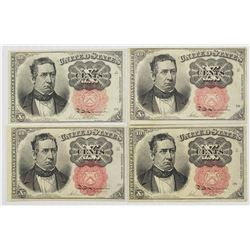 4 PIECES FRACTIONAL CURRENCY