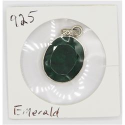 LARGE EMERALD IN .925 SILVER