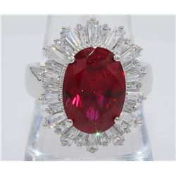 FLASHY .925 SILVER RING WITH RED STONE