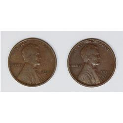 1911-S AND 1910-S LINCOLN CENTS