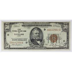 1929 $50.00 FEDERAL RESERVE BANK CLEVELAND