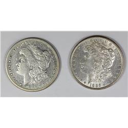 1885-S AND 1886 MORGAN SILVER DOLLARS