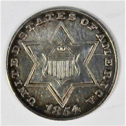 1854 TYPE TWO THREE CENT SILVER