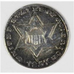 1857 TYPE TWO THREE CENT SILVER
