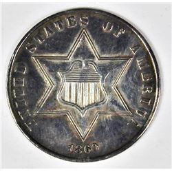 1860 TYPE 3 THREE CENT SILVER