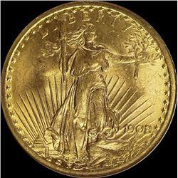 1908 NO MOTTO $20.00 GOLD