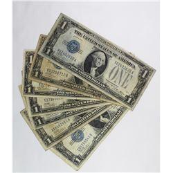 7 PIECES 1928 $1.00 SILVER CERTIFCATES