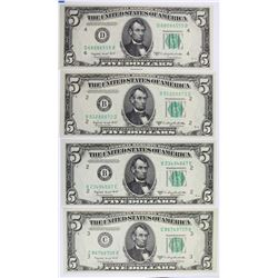(4) 1950-C $5.00 FEDERAL RESERVE NOTES