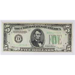 1934-B $5.00 CLEVELAND FEDERAL RESERVE NOTE