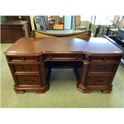 SAMUEL LAWRENCE INLAID DARK WOOD 7 DRAWER LIBRARY DESK & LEATHER STUDDED MOBILE OFFICE CHAIR