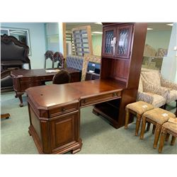 SAMUEL LAWRENCE DARK WOOD INLAID 6 DRAWER PARTNER DESK, 2 DOOR SIDE HUTCH & LEATHER STUDDED MOBILE