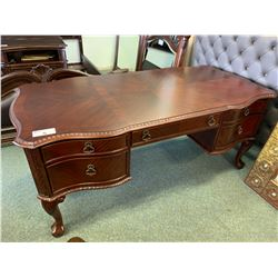 BALMOOR COLLECTION DARK WOOD CLAW FOOT 5 DRAWER WRITING DESK & LEATHER EXECUTIVE CHAIR