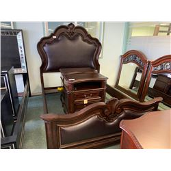 5 PCS SCHNADIG DARK WOOD AND LEATHER STUDDED QUEEN SIZE BEDROOM SUIT INCLUDING ; HEADBOARD,