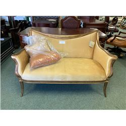 BELINA GOLD FRAMED FABRIC 2 SEAT SETTEE / LOVE SEAT WITH CUSHIONS