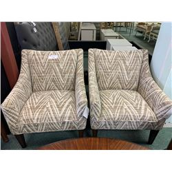 PAIR OF MICHAEL ARMINI NIKKI CAPRI PATTERN ARM CHAIRS