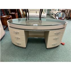 OVERTURE CRISTAL GLASS TOP 6 DRAWER VANITY WITH 4 DOOR STORAGE CREDENZA