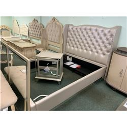 4 PCS MICHAEL ARMINI QUEEN SIZE GREY STUDDED BEDROOM SUIT INCLUDING ; HEADBOARD, FOOTBOARD,