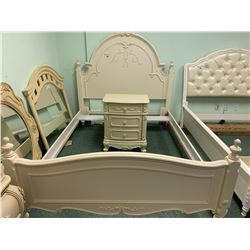 4 PCS LEA WHITE LEAF PATTERN DOUBLE BEDROOM SUIT  INCLUDING ; HEADBOARD, FOOTBOARD,
