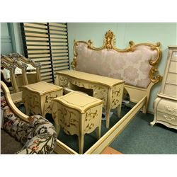 8 PCS GOLD ETCHED WOOD KINGSIZE PADDED BEDROOM SUIT  INCLUDING ; HEADBOARD, FOOTBOARD,