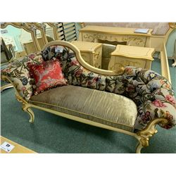 GOLD ETCHED FABRIC BEDSIDE CHAISE/BENCH WITH CUSHION