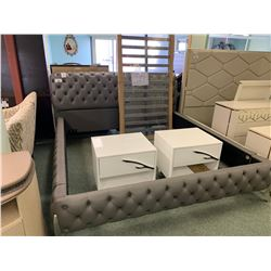 GREY LEATHER STUDDED KING SIZED BEDROOM SUIT INCLUDING ; HEADBOARD, FOOTBOARD, SIDERAILS,