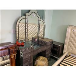 HOLLYWOOD SWANK ILLUMINATED GLASS TOP 11  DRAWER VANITY WITH PUMPKIN STOOL & 2 DRAWER NIGHT STAND