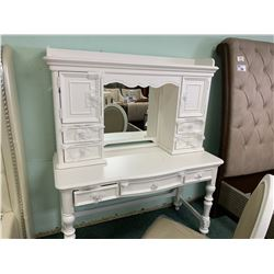 WHITE TRADITIONAL 3 DRAWER VANITY WITH CHAIR & 6 DRAWER MIRROR HUTCH