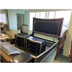 PCS BLACK & LEATHER KING SIZE BEDROOM SUIT INCLUDING ; HEADBOARD, FOOTBOARD,