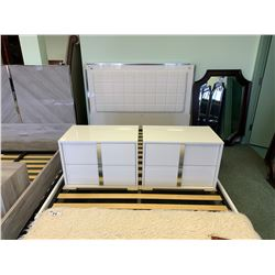 5 PCS MODERN WHITE PADDED QUEEN SIZE BEDROOM SUIT INCLUDING ; HEADBOARD, FOOTBOARD,