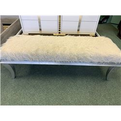 MICHAEL ARMINI GREY & WHITE FUR BEDSIDE BENCH