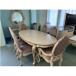 10 PCS MICHAEL ARMINI LAVELLE OVAL DINING TABLE SET INCLUDING ; TABLE, LEAF, 6 CHAIRS, 3 DRAWER