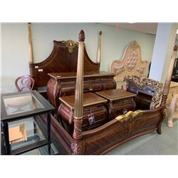 7 PCS IMPERIAL COURT RADIANT CHESTNUT 4 POST KING SIZE BEDROOM SUIT INCLUDING ; HEADBOARD,