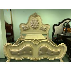 5 PCS CREAM PADDED QUEEN SIZE BEDROOM SUIT INCLUDING ; HEADBOARD,