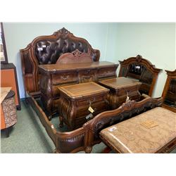7 PCS DARK WOOD LEATHER STUDDED WING BACK KING SIZE BEDROOM SUIT INCLUDING ; HEADBOARD,