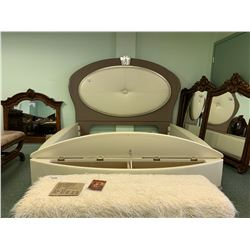 3 PCS LEATHER PADDED OVAL WING BACK STORAGE BED INCLUDING ; HEADBOARD, FOOTBOARD, SIDERAILS