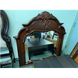 DARK WOOD INLAID DRESSER MIRROR