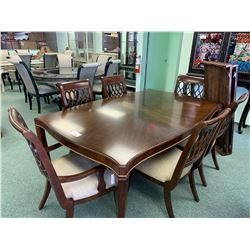 TRADITIONAL INLAID PATTERN DARK WOOD 9 PCS DINNING SET INCLUDING: TABLE, 2 LEAFS, 6