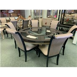 MICHAEL ARMINI MODERN CIRCULAR GLASS TOP 7 PCS DINNING SET INCLUDING: TABLE & 6 HIGH BACK DINNING
