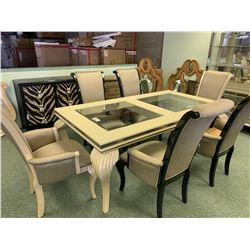 MICHAEL ARMINI MODERN RECTANGULAR GLASS TOP 8 PCS DINNING SET INCLUDING: TABLE, LEAF, & 6 HIGH BACK