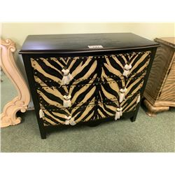 DARK WOOD 3 DRAWER ANIMAL PRINT ACCENT CHEST