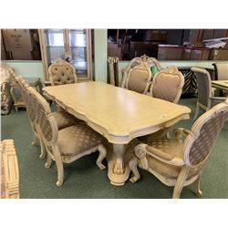 MICHAEL ARMINI CHATEAU CLAW FOOT 10 PCS DINNING SET INCLUDING: TABLE, 3 LEAFS, & 6 WOOD & FABRIC
