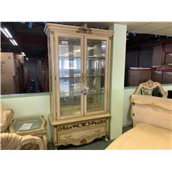 MICHAEL ARMINI ROYALE WHITE WOOD 2 DOOR, SINGLE DRAWER GLASS CURIO CABINET