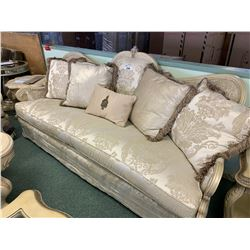 MICHAEL ARMINI CHATEAU WHITE WOOD 3 SEAT SOFA & LOVE SEAT SET WITH CUSHIONS