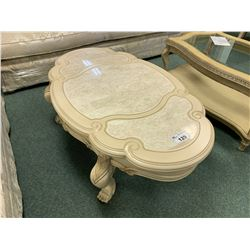 MICHAEL ARMINI CHATEAU MARBLE INLAID CLAW FOOT COCKTAIL TABLE & END TABLE