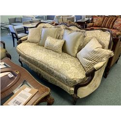 DARK WOOD GOLD ETCHED CURVED BACK LOVE SEAT WITH CUSHIONS