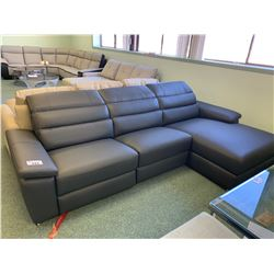 GREY LEATHER POWERED 3 SEAT MODERN SOFA & LOUNGE WITH USB