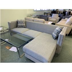 GREY STUDDED FABRIC 3 SEAT SOFA & LOUNGE WITH CUSHIONS