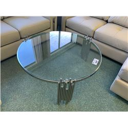 MODERN METAL & GLASS CIRCULAR COCKTAIL TABLE & END TABLE