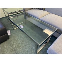 MODERN METAL & GLASS RECTANGULAR COCKTAIL TABLE & END TABLE