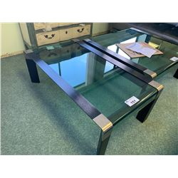 DARK WOOD & CURVED GLASS RECTANGULAR COCKTAIL TABLE